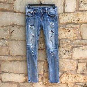 Miss Me Boyfriend Ankle Distressed Ripped Jeans 27